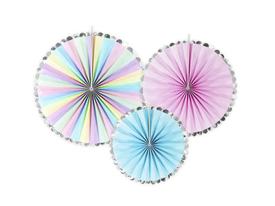 Pastel Mix Circle Fan Pinwheel Decorations, Pink Back drop Party Wall decoration,