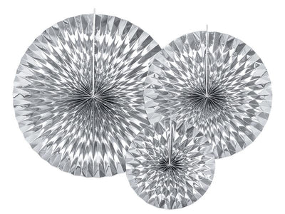 Silver Circle Fan Pinwheel Decorations, Silver Back drop Party Wall decoration,