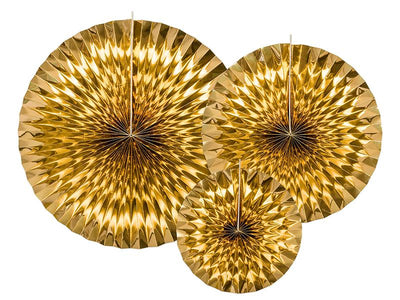 3 Gold Hanging Fan Decoration, New Year's Party Decoration, Gold Rosettes,