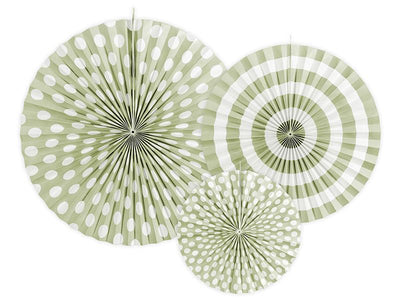 Olive Green Circle Fan Pinwheel Decorations, Olive Green Party Backdrop