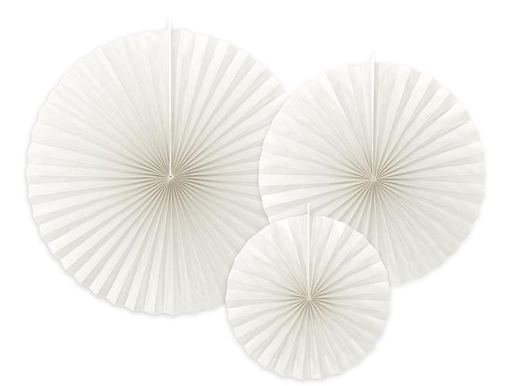 Decorative Rosettes in Off-White, Circle Fan Pinwheel Decorations,