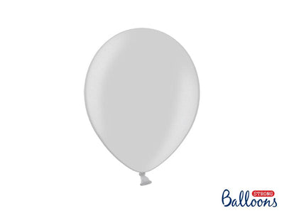 Strong Balloons 27cm, Metallic Silver Snow (1 pkt / 10 pc.)