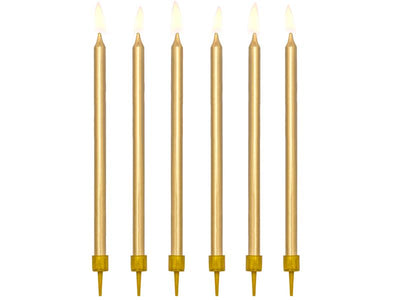 12 Metallic Gold Tall Candles, Gold cake Decoration, Birthday Cake Candles, Birthday Candles