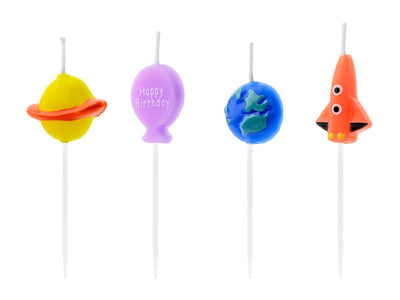 4 Space Birthday Candles,  Rocket Shape Candles, Space Cake Topper, Astronaut  Birthday Party,