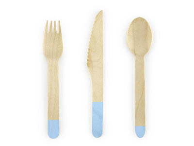 Wooden Cutlery, light blue, 16cm (1 pkt / 18 pc.)