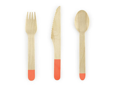 Wooden Cutlery, dark orange, 16cm (1 pkt / 18 pc.)