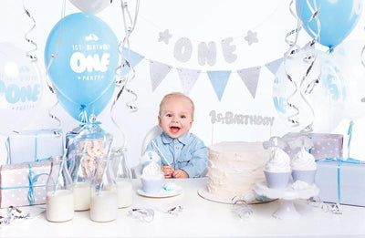 Boys 1st Birthday Party decorations set, Blue and silver party set
