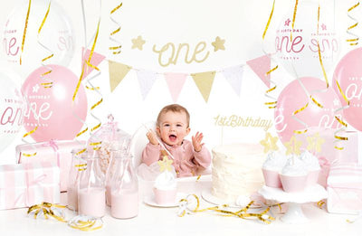 1st Birthday Party Decoration, Girls 1st Birthday Kit, Gold First Birthday