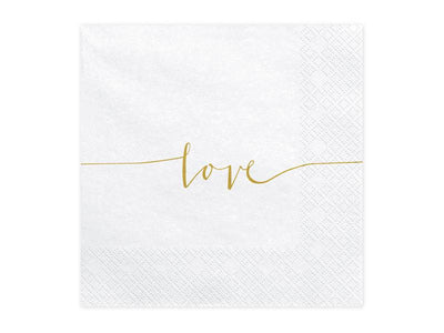 Love Gold Wedding Napkins 33x33cm (1 pkt / 20 pc.)