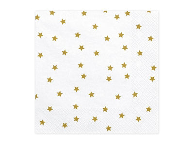 White and Gold Stars Napkins, Gold Stars Napkins, Gold Napkins, Wedding Decoration, Baby Shower, Woodland Boho Tableware