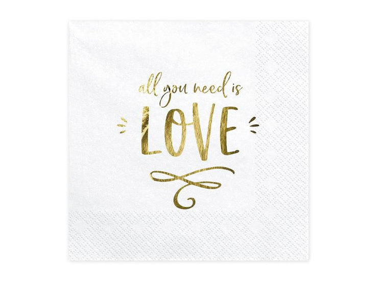 Napkins - All you need is love, white, 33x33cm (1 pkt / 20 pc.)
