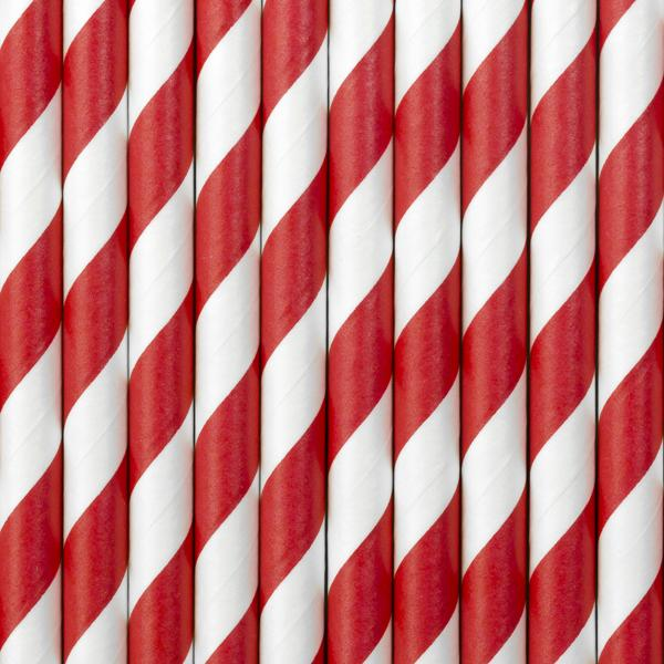 20 Red and White Striped Straws, Pirates Party Straws, Red Paper Party Straws