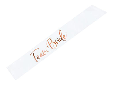 Satin Rose Gold Team bride Sash, white, 75cm