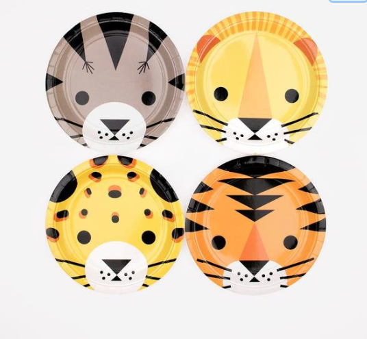 Wild Animals Paper Plates , Safari Party Plates, Explorer Birthday, Jungle Animal Birthday Party,