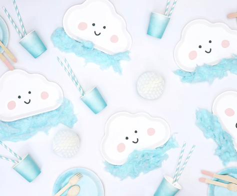 6 Cloud Party Plates, Baby Shower, Neutral Baby Shower, Clouds Party Decorations,