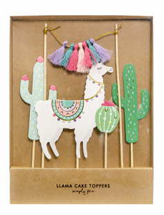 Llama Cake Toppers, Cactus Party Cake Decorations, Tropical Party Decor,