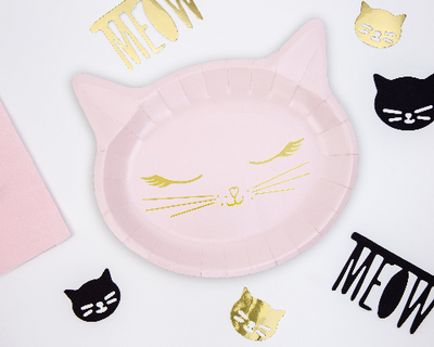 Kitten Paper Plates, Cat Birthday Party , Girl birthday Party, Pink Cat Deco, Kitty Birthday Party