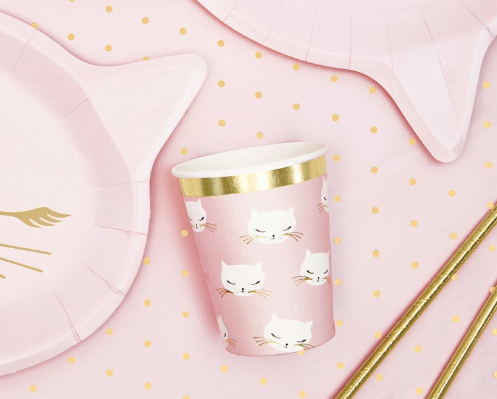 Kitten Paper Cups, Girls Birthday Party, 1st Birthday, baby shower, Kitty Paper Cups