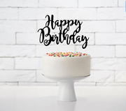 Black Happy Birthday Cake Topper, Black Matt Cake topper