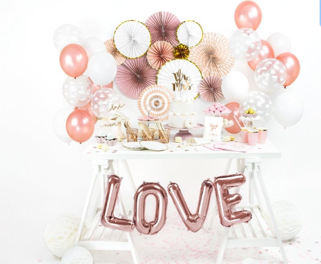 10 Rose Gold Confetti Balloons , Rose Gold Balloon Bouquet, Baby shower, Bridal shower, Wedding balloons