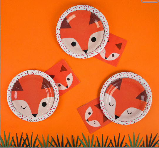 Fox Plates, Fox Baby Shower, Woodland Plates, Fox Birthday Party