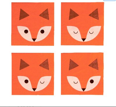 Fox Napkins, Fox Baby Shower, Woodland Napkins, Fox Birthday Party