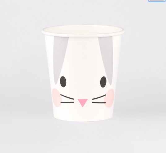 8 Bunny Party Cups, Cute Rabbit Paper Cups ,First Birthday,