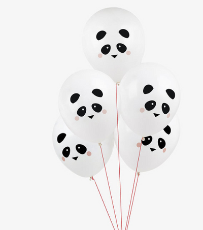 6 Panda Paper Balloons, Birthday Party, Animal Party Decorations, Kids Party