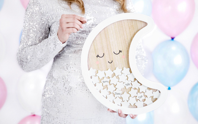 Moon Baby Shower Wooden Guest Book, Frame Guest Book Party Decoration,