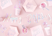 Happy Birthday Powder Pink Plates, Holographic Happy Birthday Plates,
