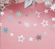 Iridescent Star Garland, Christmas Bunting, Star Garland ,