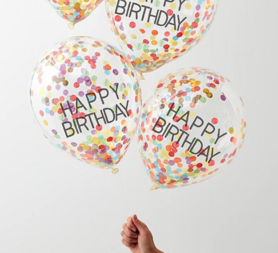 Rainbow Happy Birthday Confetti Balloon, Children's Party Decoration