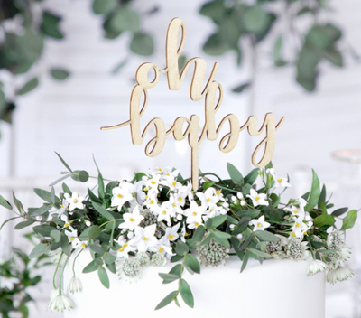 Wooden Oh Baby Cake Topper, Baby Shower Decorations, Baby Shower Tableware,