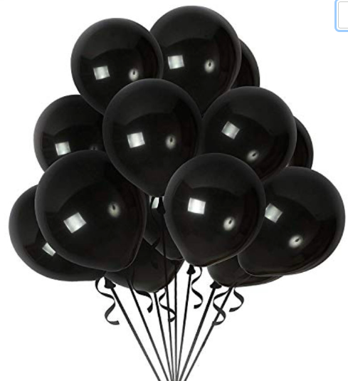 10 Black Metallic Latex Balloons, Pirate Birthday Decoration,