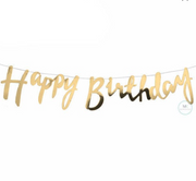 Gold Happy Birthday Bunting, Birthday Bunting, Birthday backdrop,