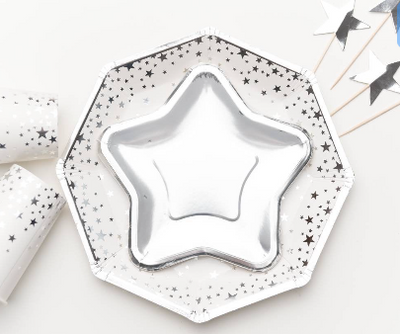 Star Shaped Paper Plates 18cm, Silver Star Party Plates, Silver Tableware