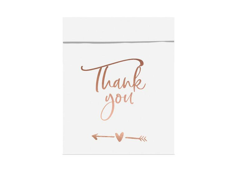 Rose Gold Thank You Wedding Paper Treat bags Thank you, 13x16.5cm (1 pkt / 6 pc.)