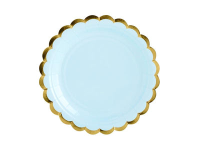 Light Blue Gold Foiled Paper Plates , Hen Party, Tea Party Plates, Bridal Shower,