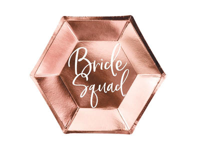 Rose Gold Foiled Team Bride Plates,Bride Squad Plates,  Bridal Shower Plates, Party Plates,