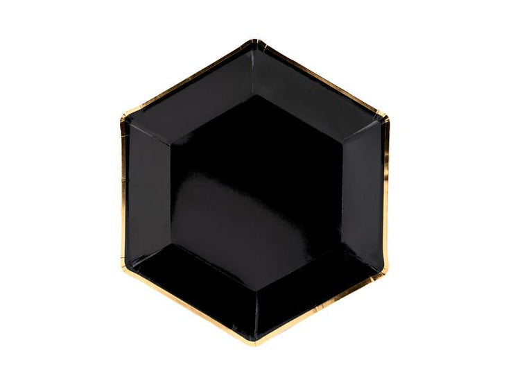 Black Gold Edge Paper Plate, Black Hexagonal Party Plates