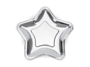 Silver Star Shaped Paper Plates, Silver Star Paper Party Plates,
