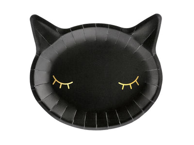 Paper plates Cat, black, 22x20cm (1 pkt / 6 pc.)