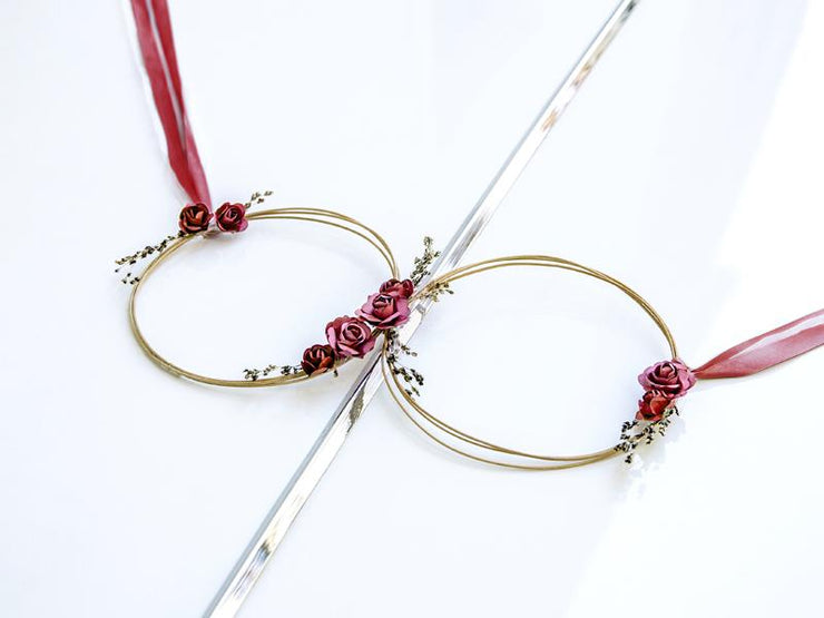Red Wedding Car Decoration Kit, Red Rattan Hoop Car Decoration Rustic Wedding Decoration, Brides Car,