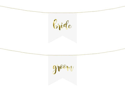 Chair signs - Bride Groom, gold (1 pkt / 2 pc.)