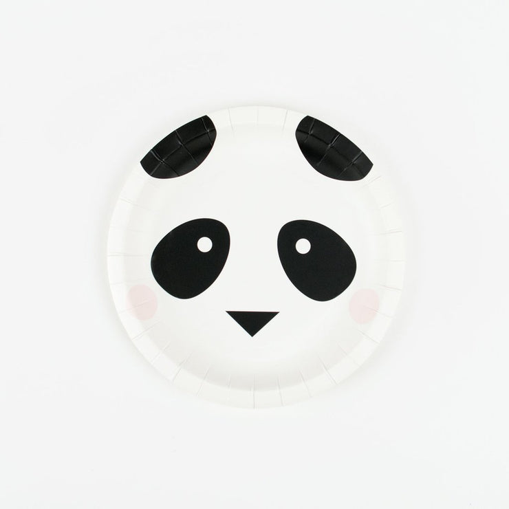 8 Panda Paper Plates, Birthday Party, Animal Party Tableware, Kids Party, 1st Birthday