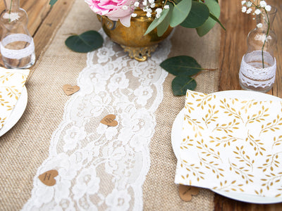 Rustic White Lace Hessian Table Runner, Wedding Decorations, Rustic Wedding,