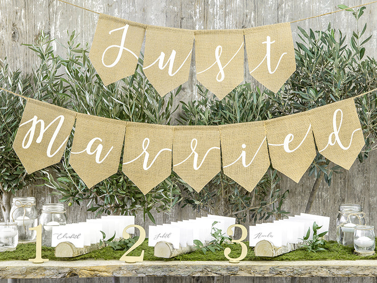 Just Married Hessian Bunting, Rustic Wedding Decoration, Boho Wedding,