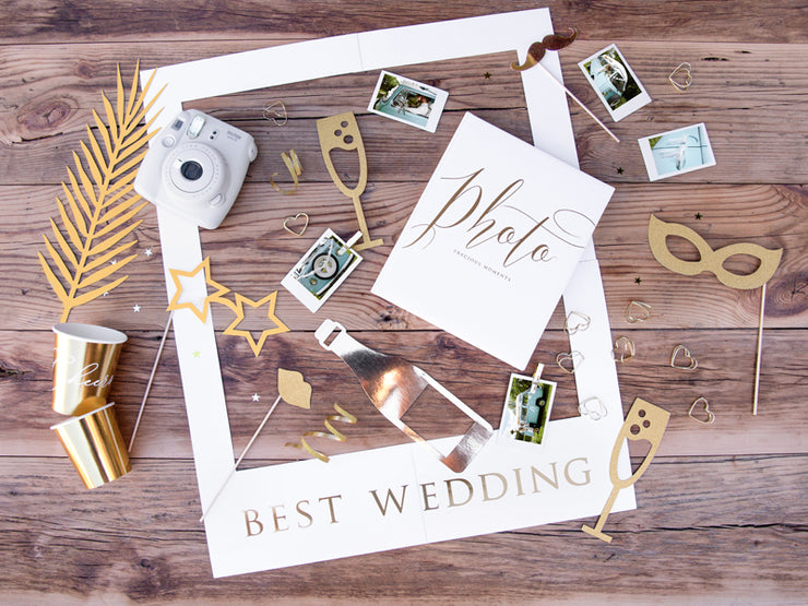 10 Gold Wedding Photo Props, Gold Wedding Party, Photo Booth Props,
