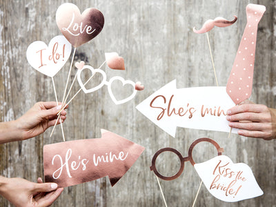12Rose Gold Wedding Photo Props, Rose Gold Wedding Party, Photo Booth Props,