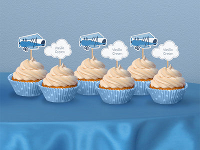 6 Vintage Airplane Cupcake Toppers, Vintage Airplane Birthday Party, First Birthday Party